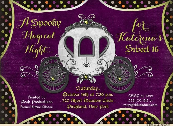 Fairytale Halloween Sweet 16 Invitations - Spooky Magical Orange, Purple & Green