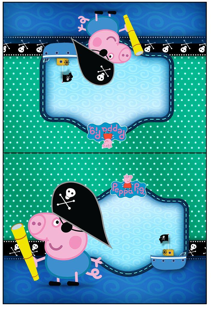 Cartão Agradecimento de Mesa George Pig Pirata: