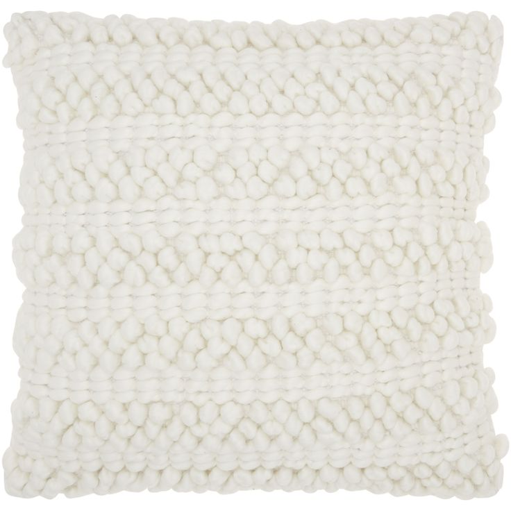 "Mina Victory Lifestyle Woven Stripes White Throw Pillow by Nourison (20 x 20-inch) (20"" x 20"") (Polyester, Solid Color)"