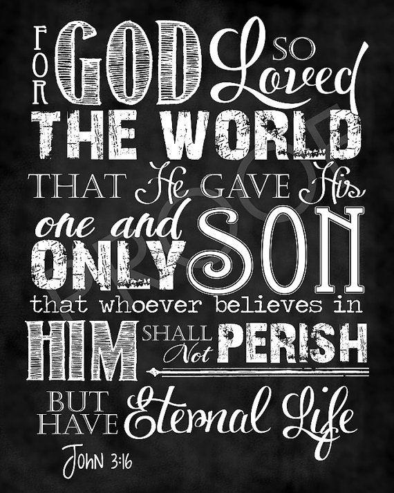 Scripture Art  - John 3:16 Chalkboard Style