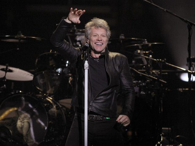 "Jon Bon Jovi greets the enthusiastic crowd at Philips Arena in Atlanta on Friday, February 10, 2017 for the second show of their ""This House is Not for Sale"" tour. (Akili-Casundria Ramsess/Special to the AJC)"