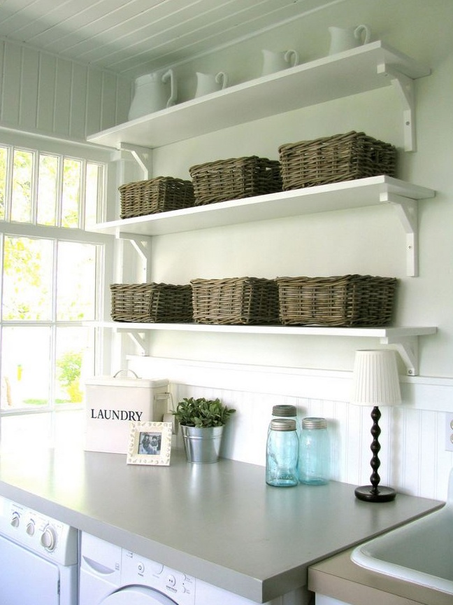 Counter Budget Laundry Room Ikea Shelves And Baskets