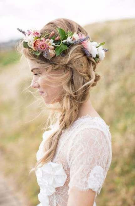 Beste Hochzeitsfrisuren Böhmische Kopfbedeckungen Blumenkronen 46 Ideen – Dresses/Vintage/Wedding..
