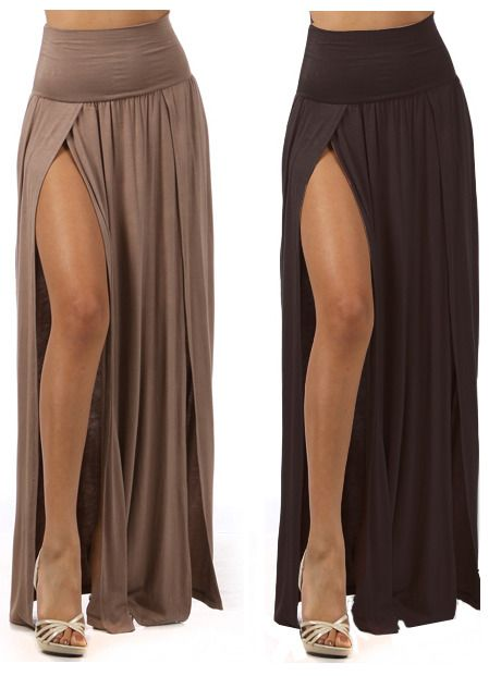 High Waist Double Slit  Long Floor Length Maxi Full Skirt