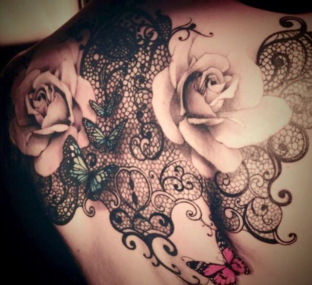 Black Lace, Flower & Butterfly Tattoo on Back