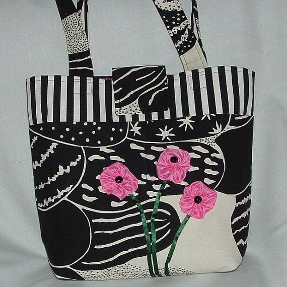 Funky Canvas Tote with Pink Flowers by wiredroxz on Etsy