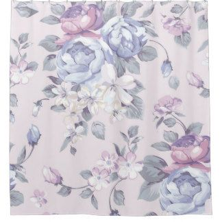 lavender,blue,roses,country,shabby,chic,victorian, shower curtain