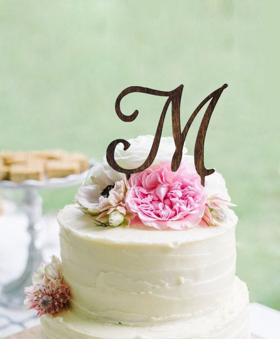 Monogram Wedding Cake topper  Wooden Wedding Cake by WeddingPros