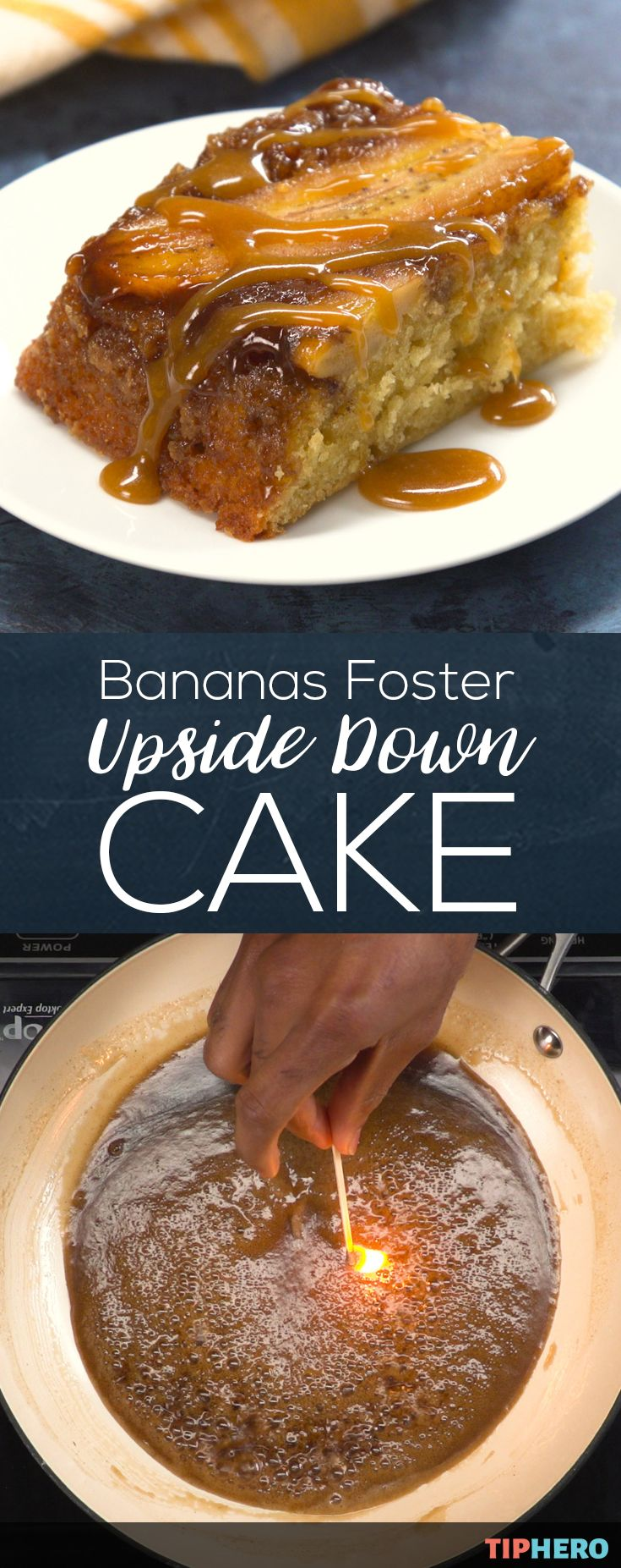 We put together two impressive desserts in one delicious cake for this Bananas Foster Upside Down Cake recipe. The Bananas Foster Upside Down Cake features the classic cake, topped with bananas slathered in that one-of-a-kind fosters rum sauce, for a flavor packed cake. Click for the recipe and how to video.