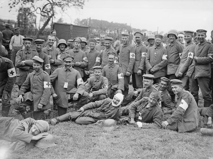 MINISTRY INFORMATION FIRST WORLD WAR OFFICIAL COLLECTION (Q 2285)   German Red Cross men captured in the Battle of Messines Ridge, 8th June 1917