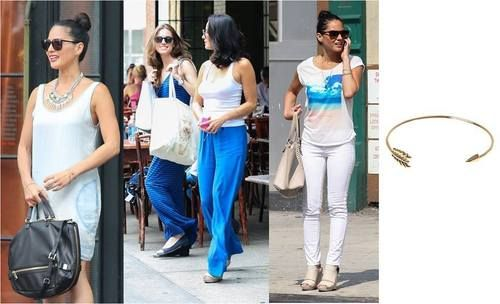 Actress Olivia Munn rocking the Stella & Dot Gilded Arrow Bangle! It's also one of my favorite pieces to wear alone or stacked with other bracelets. Silver or Gold just $39. Get yours at: Stelladot.com/averyb