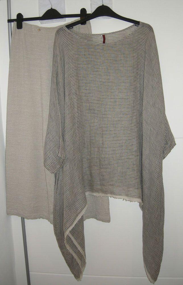 DANIELA GREGIS Textured Grey Linen Trousers Wide Leg 3/4  Size M