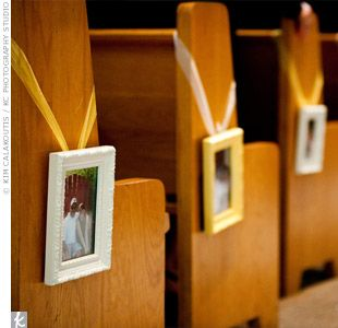 Use picture frames of couple to decorate pews.  even better... old wedding pictures of family and friends!
