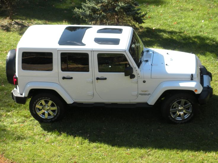 white Jeep Wrangler JK hard top glass inserts sunroofs