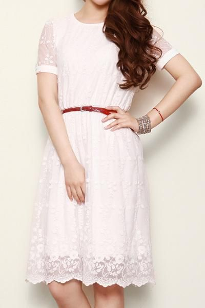 Retro Embroidery Elegant White Dress : The Art of Vintage-inspired & Cute Women's Clothing | @Larmoni