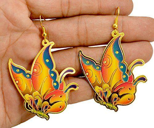 A Pair of Brass Metal Butterfly Design Hippie Danglers Fashion Earrings for Women's Krishna Mart India http://www.amazon.com/dp/B00UP1ODHK/ref=cm_sw_r_pi_dp_fW.xwb1HXSMHC