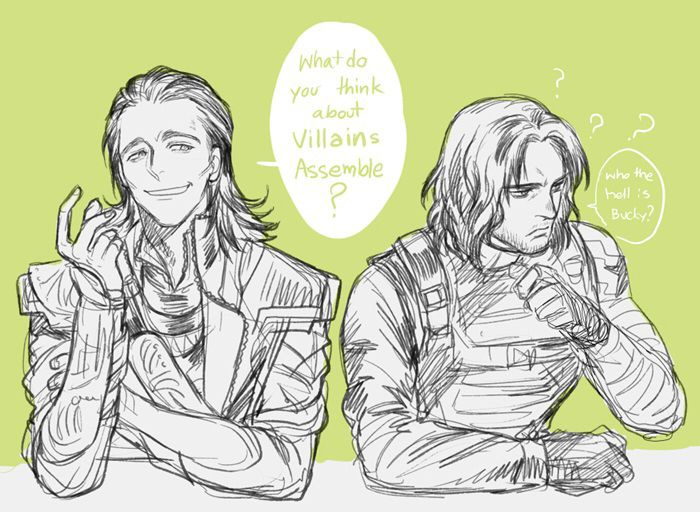 Villains Assemble.  art by Kanapy | If Bucky actually hears Loki calling him a villain, this will be a short but hilarious movie.