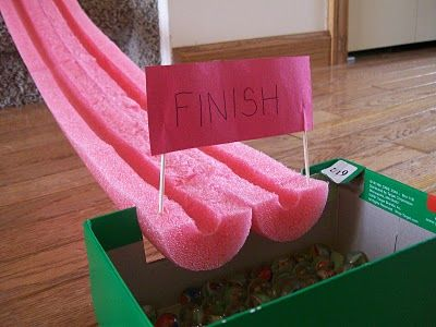 Make marble racetracks with inexpensive pool noodles