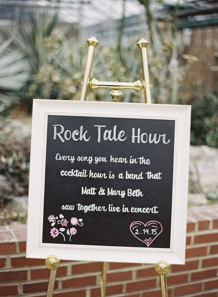 """Unique wedding cocktail hour idea - """"Rock Tale Hour"""" - every song heard during the cocktail hour is from a band the bride and groom saw together live in concert  {Jordan Brian Photography}"""
