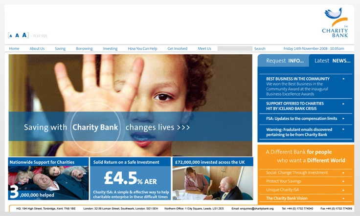 Redeign of online bank / website for CAF funded Charity Bank