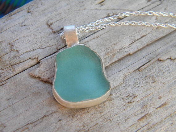 Authentic Aqua Blue Sea Glass Necklace  by ChildrenofFlowers, $94.00