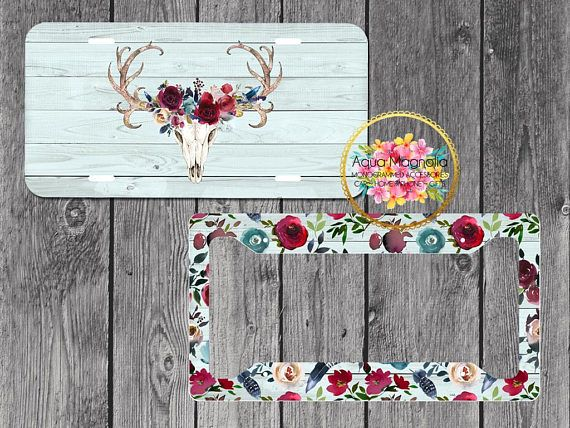 Boho Burgundy Amp Navy Floral Deer Antlers License Plate