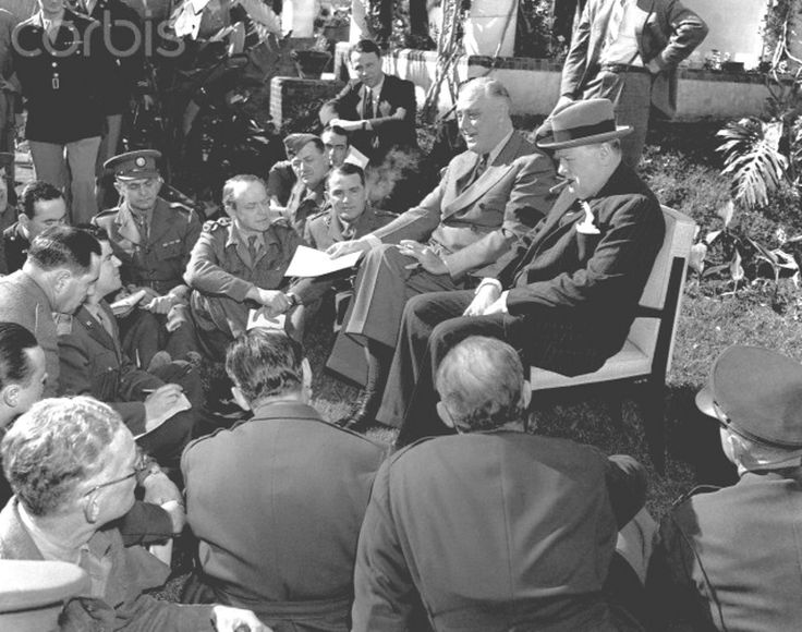 Roosevelt and Churchill at the Casablanca Conference Franklin Delano Roosevelt and Winston Churchill hold an open air press conference during the Casablanca Conference.  Date,1943 ♥❃❋✽✾❀❃ ♥  http://en.wikipedia.org/wiki/Franklin_D._Roosevelt    http://en.wikipedia.org/wiki/Winston_Churchill