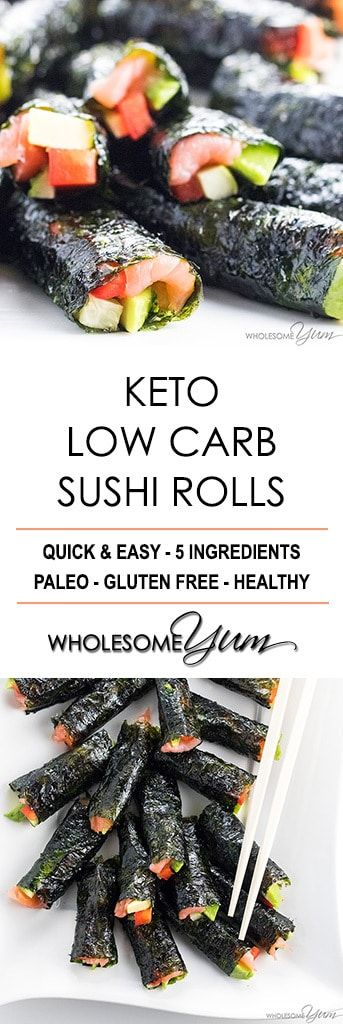 Keto Low Carb Sushi Rolls Recipe without Rice (Healthy) - 5 Ingredients - The best low carb keto sushi recipe needs only 5 ingredients and 15 minutes! Just use this easy method for how to make sushi without rice.