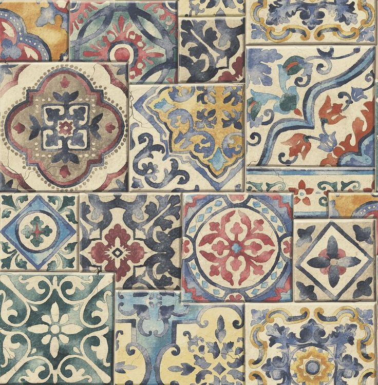 Reclaimed Marrakesh Tiles 10.05m x 52cm Floral Roll Wallpaper