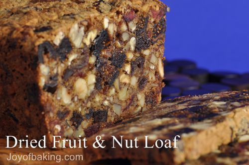 Dried Fruit and Nut Loaf --dates, figs, cherries, apricots. Walnuts and hazelnuts. No oil or butter. Just enough batter to hold it all together