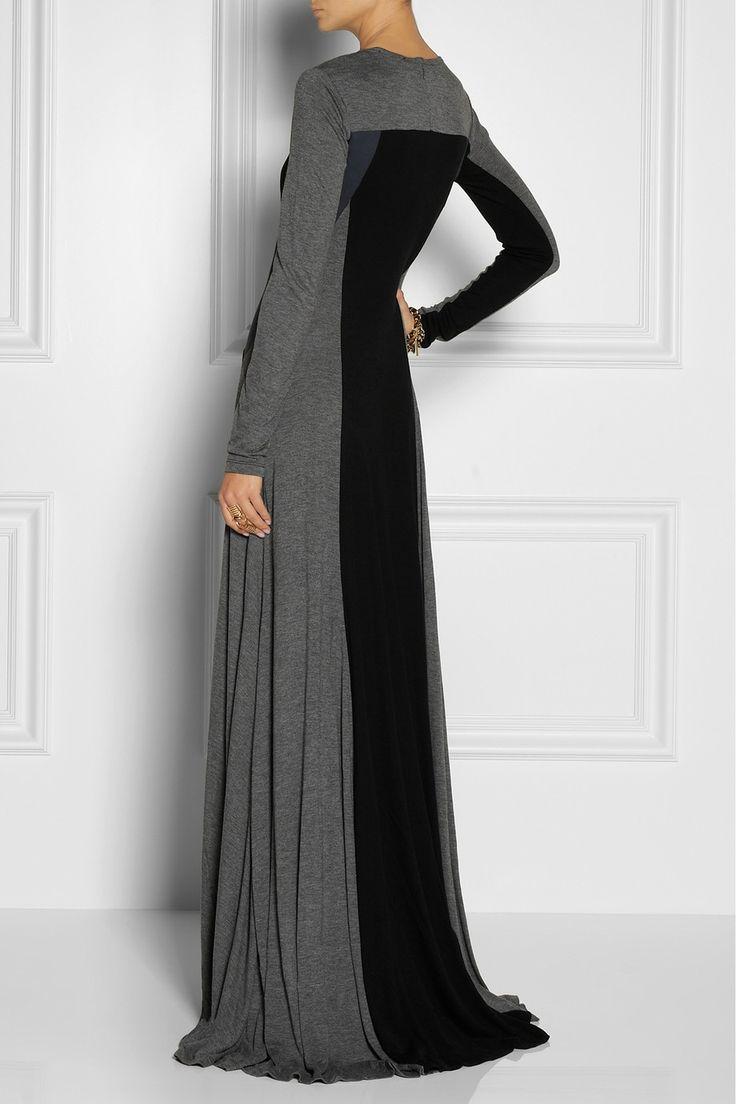 DKNY|Color-block jersey maxi dress|NET-A-PORTER.COM