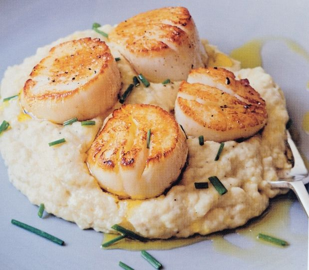 Seared scallops and potato celery-root puree, from Ina Gartens Barefoot Contessa Foolproof.