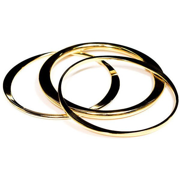 Rani Gold Bangle Set Bangle Bracelets ($49) ❤ liked on Polyvore featuring jewelry, bracelets, bangle set, 18k bangle bracelet, bracelets bangle, 18 karat gold jewelry and hinged bracelet