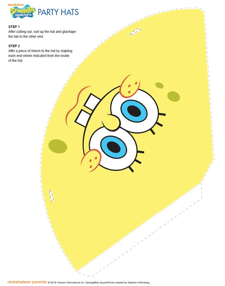 http://www.nickelodeonparents.com/spongebob-printable-party-hats/