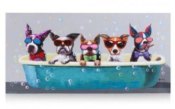 Dit vrolijke schilderij 'Puppy Tub' van Youniq is een echte blikvanger! Er zitten echt klodders verf op het doek waardoor je hoogteverschil voelt en ziet.. Door de vele kleuren is hij gemakkelijk te combineren en fleurt hij heel de kamer op!