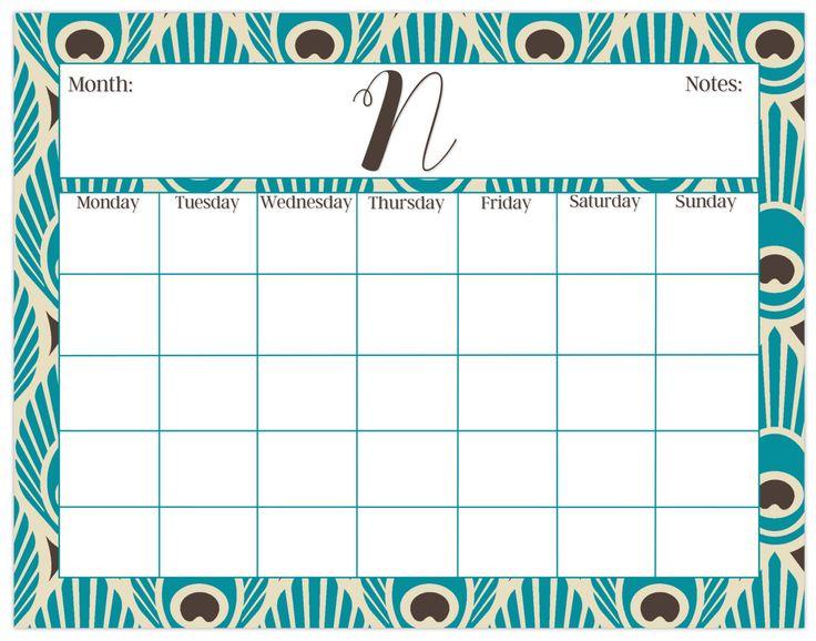 Large desk calendar, peacock print, monthly calendar or weekly calendar, personalized desk calendar, custom calendar pad by PaperKStudios on Etsy