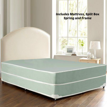 Continental Sleep Waterproof Vinyl Orthopedic Mattress and Split Box Spring with Frame- Ideal for Institutional and Home Health Care Use - Innerspring System – Cal. King Size, Blue