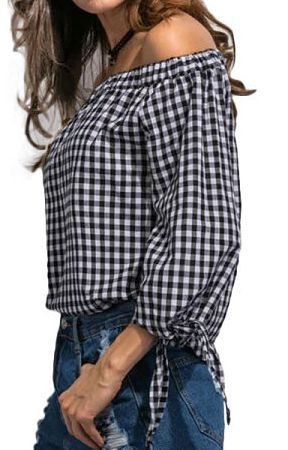 Specifications: Decoration:None Clothing Length:Regular Sleeve Style:Regular Pattern Type:Plaid Style:Fashion Fabric Type:Broadcloth Material:Cotton,Polyester Collar:Slash neck Sleeve Length:Three Qua