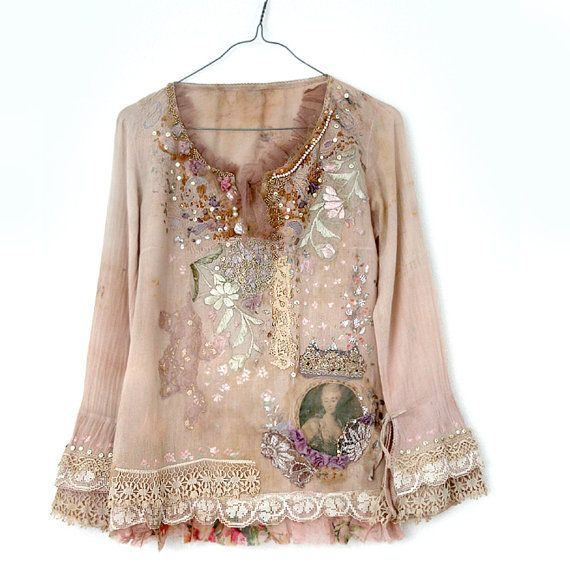 Spring Muse romantic embroidered blouse hand dyed by FleurBonheur, $245.00