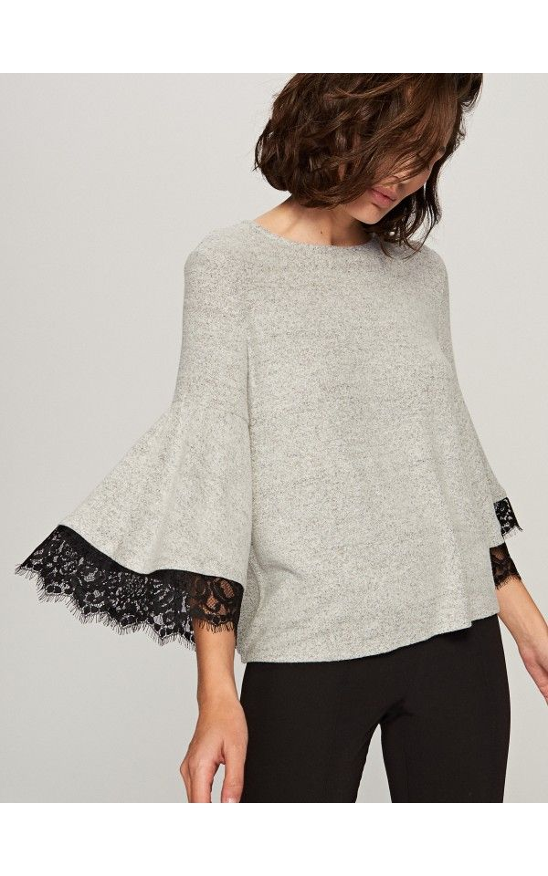 Wide sleeve blouse, Blouses, grey, RESERVED