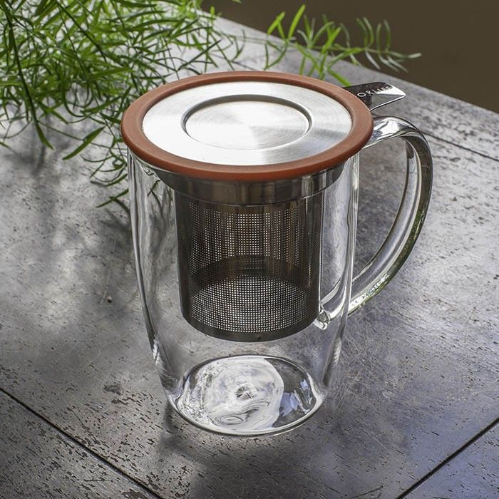 Tall Tea Mug with Infuser & Lid -16oz: A simple and clean way to brew one mug of tea. The borosilicate glass mug includes a stainless steel infuser with handle and lid. The lid doubles as a drip catch. The infuser also works in small tea pots. Everything stacks together for efficient storage.