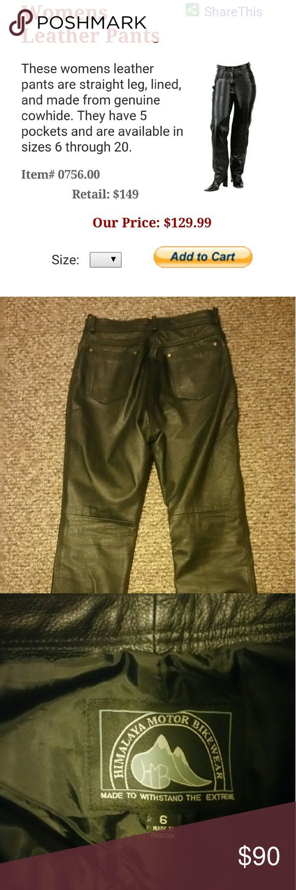Motorcycle Riding pants Real leather riding pants..worn 3 times. In great condition. No flaws. Smoke-free home.  Himalaya riding gear Pants