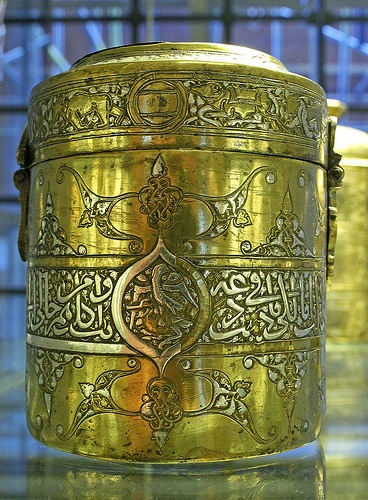 Brass box, inlaid with silver and gold   from Syria, 14th century.  October 4, 2012, Canon 7D.