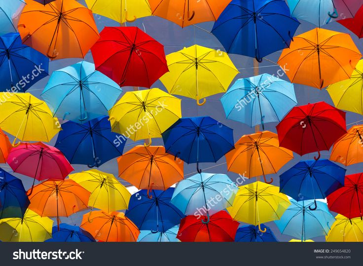 Lots of umbrellas coloring the sky in the city of Agueda, Portugal