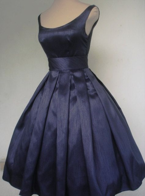 50s style  navy shantung cocktail dress, made to order to your custom specifications