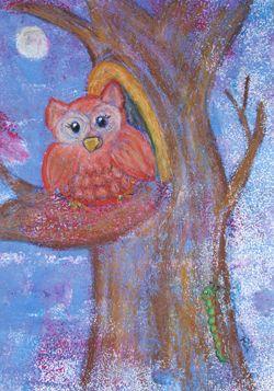 Kinderzimmerbild: Eule auf Baum - Little Walking Wolf // nursery painting: owl on a tree