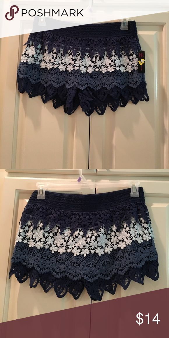 """🦋NWT Navy Lace Shorts🦋 No Boundaries navy lace Tiered shorts are adorable! 3"""" inseam. Elasticized waist! All cotton beauties! Great for back to school! Junior size 11-13. Runs a little small. Shorts"""