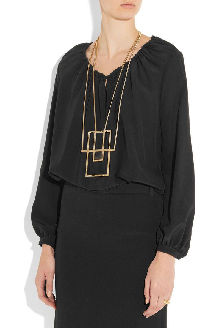 Saint Laurent|Opium gold-plated onyx necklace |NET-A-PORTER.COM