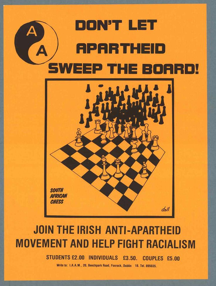 "Irish poster, 1980's ""Don't let apartheid sweep the board!"""