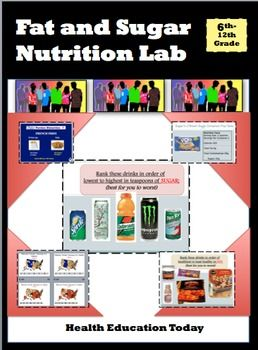 Health Lesson: Fat and Sugar Nutrition Lab in Your Classroom!Set your room up like a science lab and see how students are shocked to see the sugar and fat in products. --------------------------------------------------------------------------------Help students visually fill a baggie with teaspoons of Crisco to see how much saturated fat is in pizza or an ice-cream cookie! -------------------------------------------------------------------------------This Common Core Standards aligned…